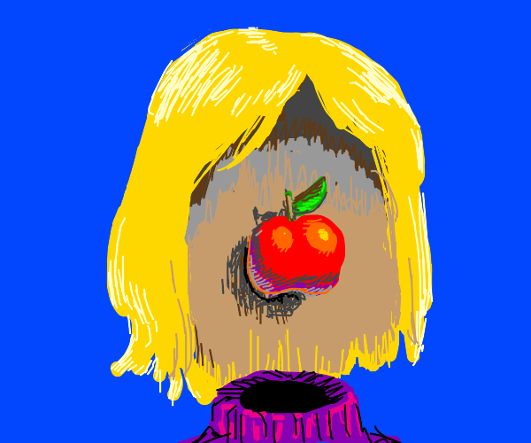 Girl with transparent face skin and apple
