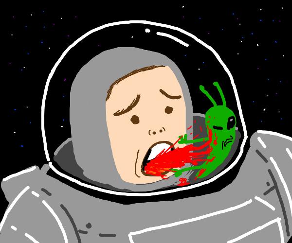 Astronaut vomits blood on alien