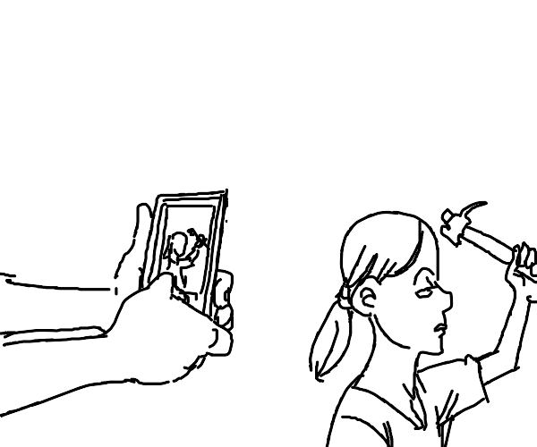 Taking photo of girl about to break her skull