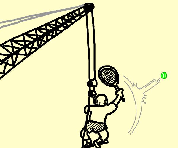 tennis player on a crane