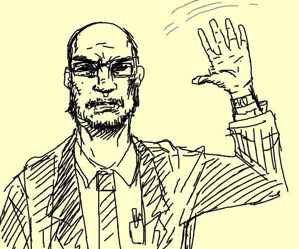 Buisness man waving at you