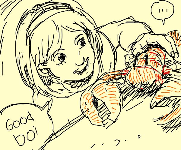 girl teaching her pet lobster some tricks
