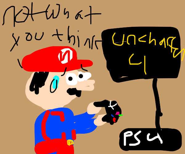 Mario is embarrassed of playing PS4