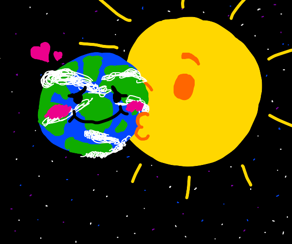 The sun giving the earth a kiss