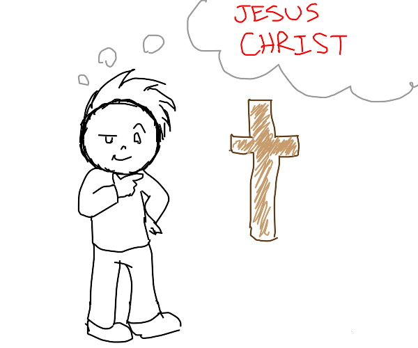 Boy sees a cross and thinks of Jesus
