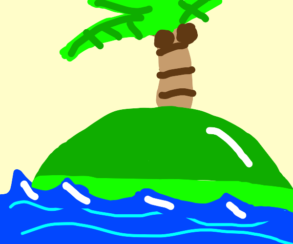 green island in the middle of the ocean