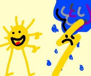 sun making fun of thunderstorm