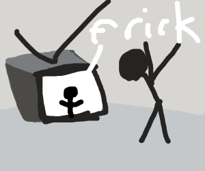 Man gasps at foul language on the television