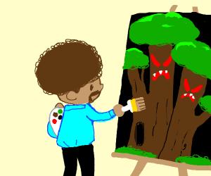 Rob Boss paints big angry trees