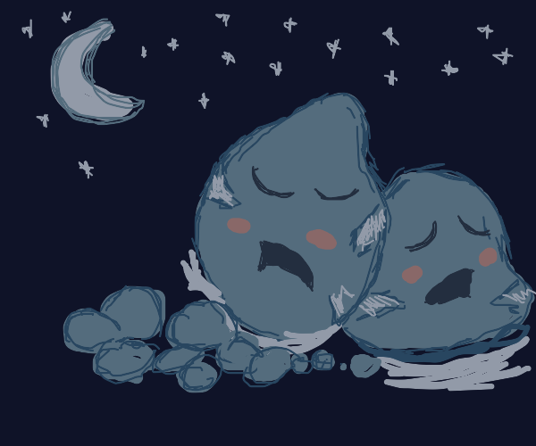 Two sleeping rocks cozy up