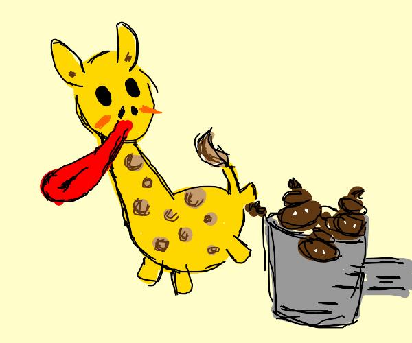 Collecting long-tongued Giraffe Poop