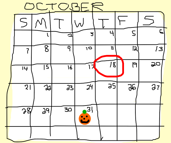 the 18th of october on a calander
