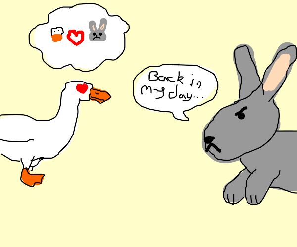 duck is in love with grumpy old bunny