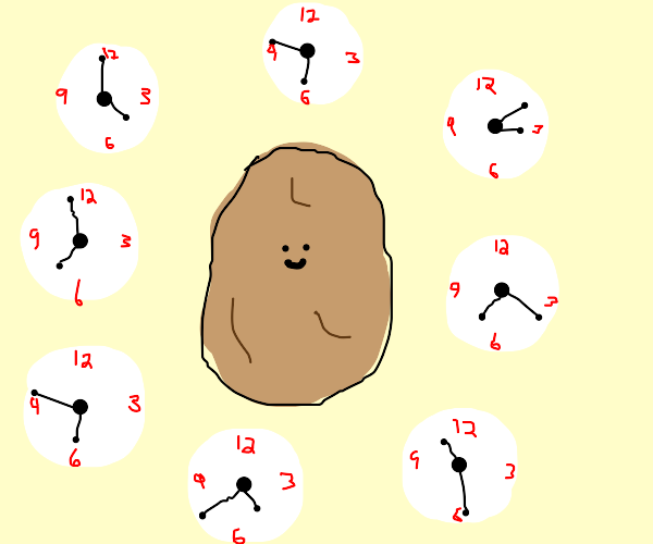Potato with a small face surrounded by clocks