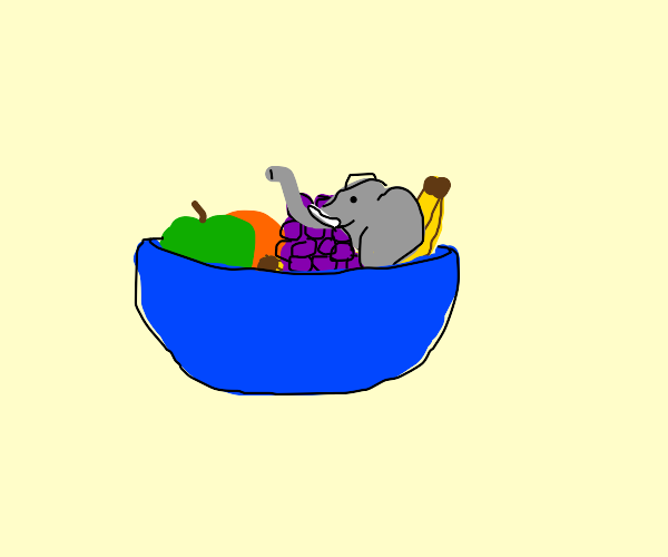 smol elephant in a bowl of fruits
