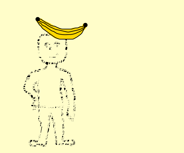 invisible man with banana on his head