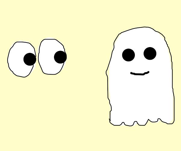 eyes looking at ghost