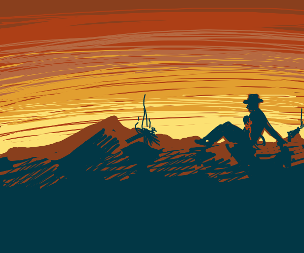 Cowboy watching his last sunrise/set