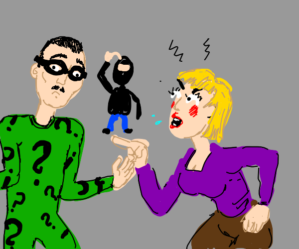 Karen confuses the Riddler and henchman