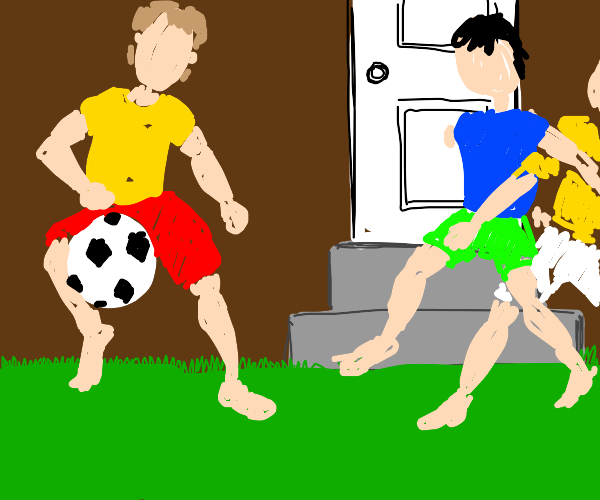 three people play soccer just outside a door