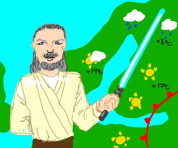 Weatherman Qui-Gon Jinn points w/ lightsaber