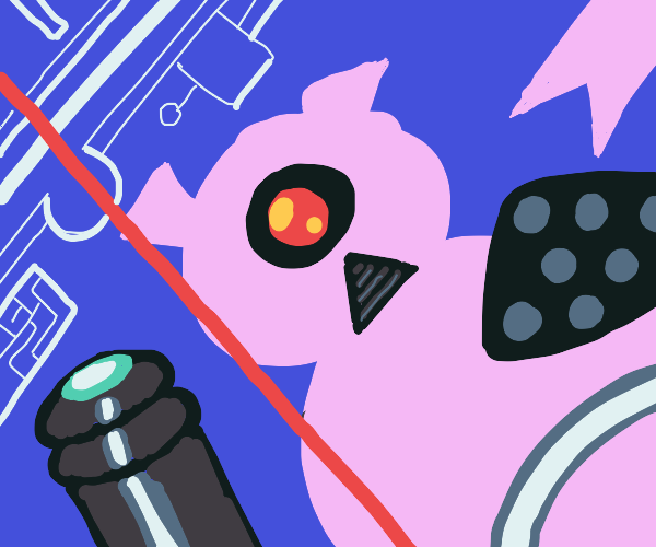 Abstract futuristic cyclops pig in cyberworld