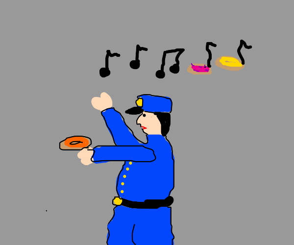 policeman singing about donuts