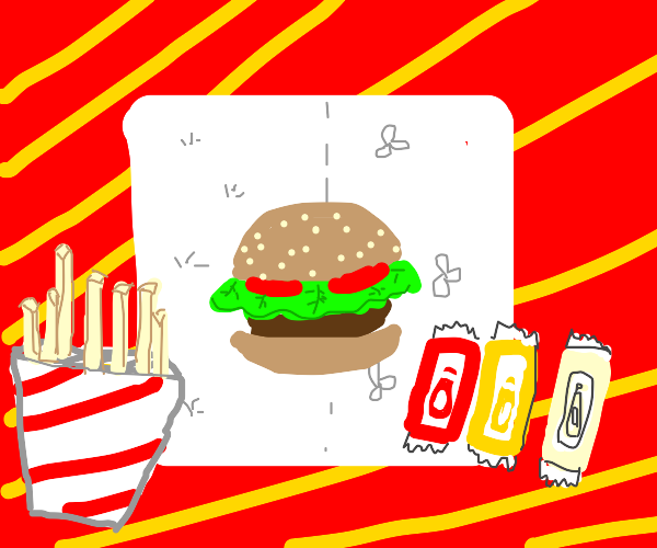 hamburger on paper towel w red n yellow backg