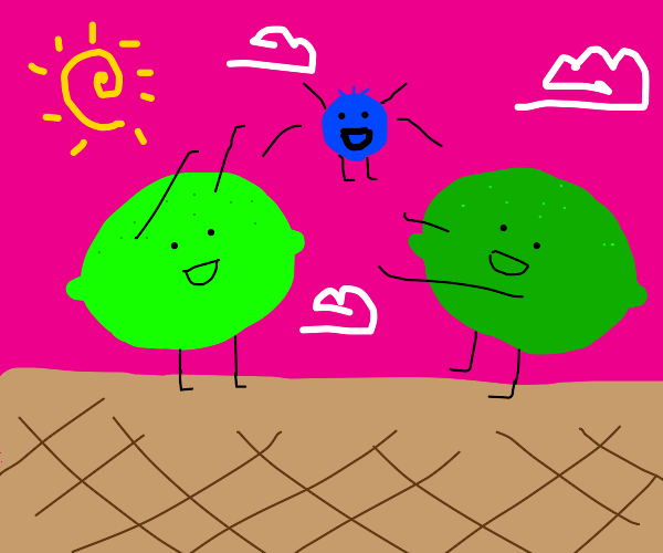 2 limes do throw & catch w/ living blueberry