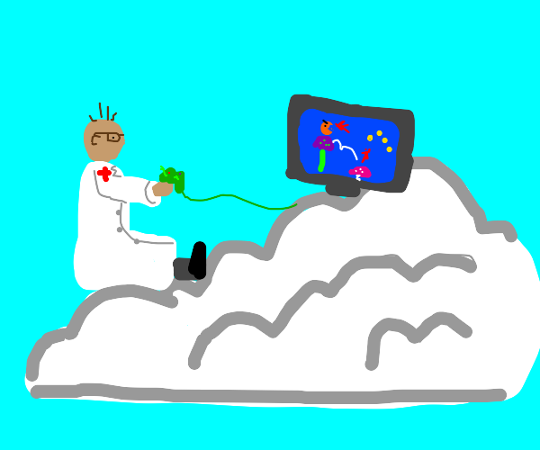 doctor playing video games in a cloud