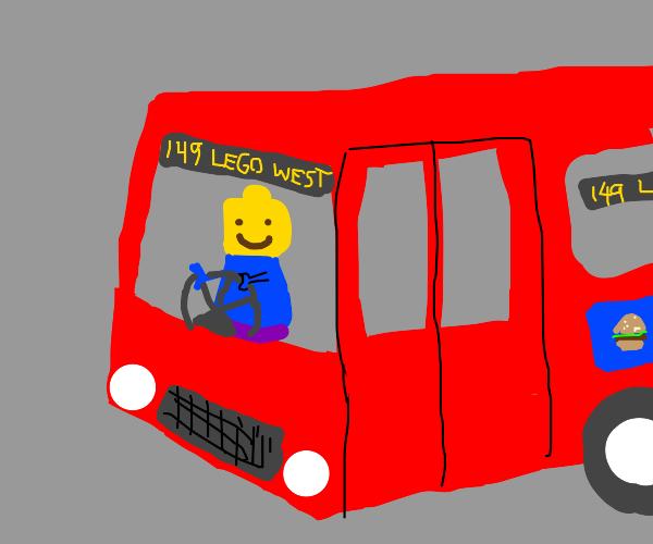 lego man as a bus driver