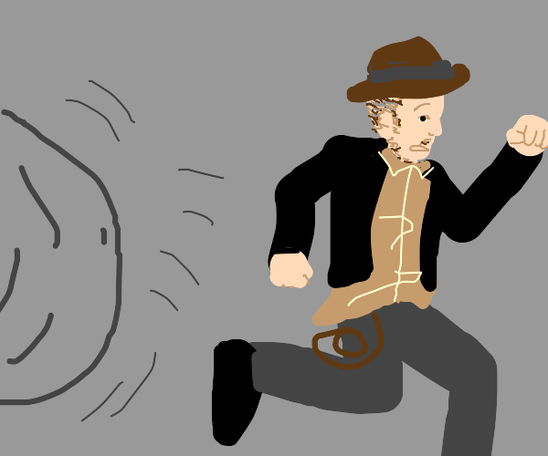 Indiana Jones terrified by something.