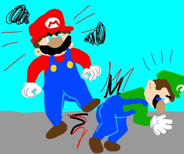 Mario beats up Luigi