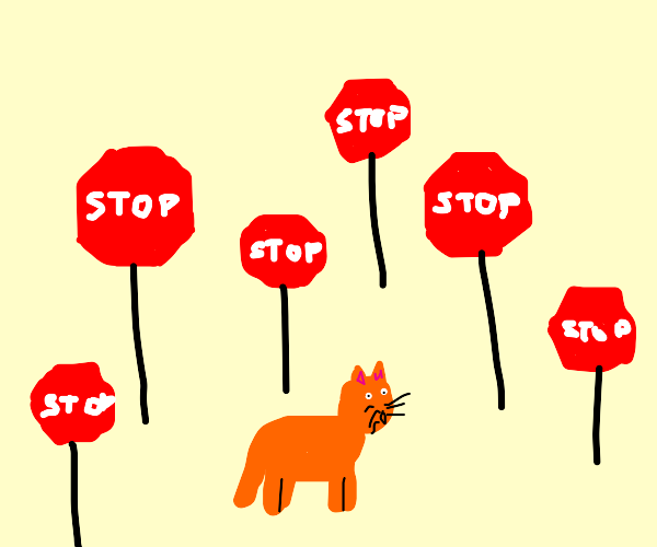 Car surrounded by stop signs