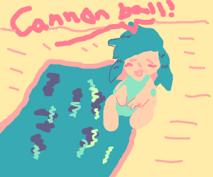 light blue hair anime girl diving