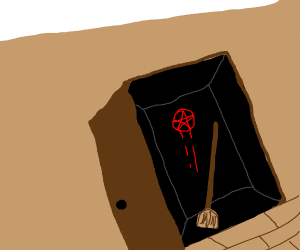 broom in dark closet
