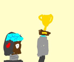 cyborg has a trophy