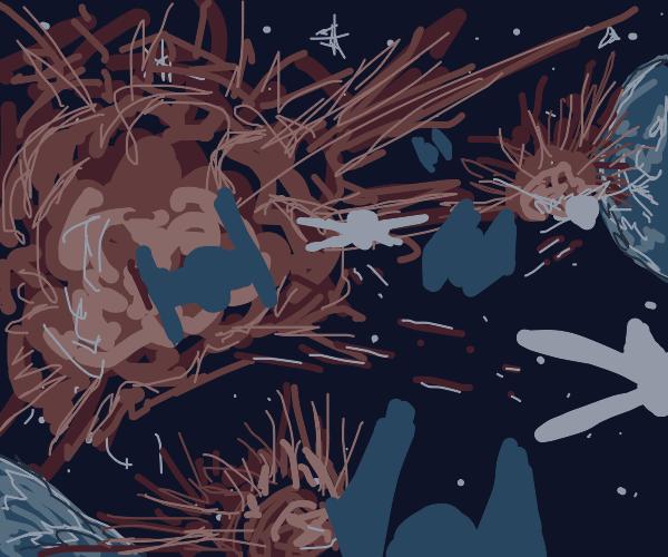 a massive epic space battle.