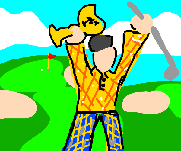 golf champion standing in a golf field