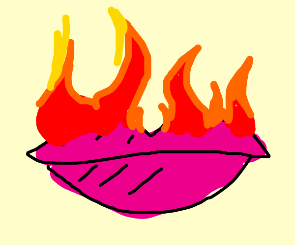 lips (with lipstick) on fire