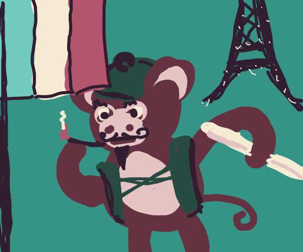 french monkey with baguette