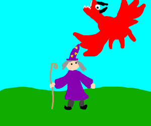 Wizard fights off dragon demon
