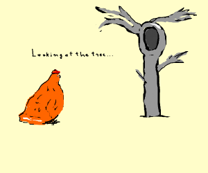 chicken looking at spoon tree