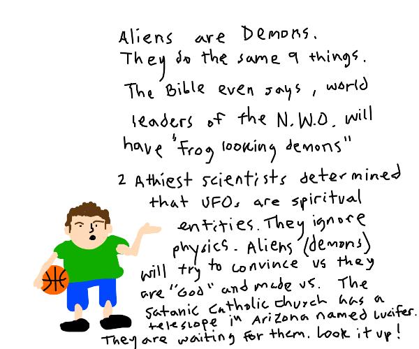 Boy talks about aliens
