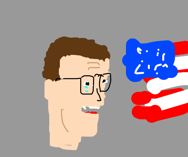 Hank Hill cries infront of American flag