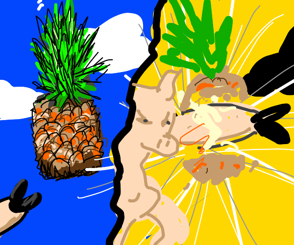 Pig punches pineapple