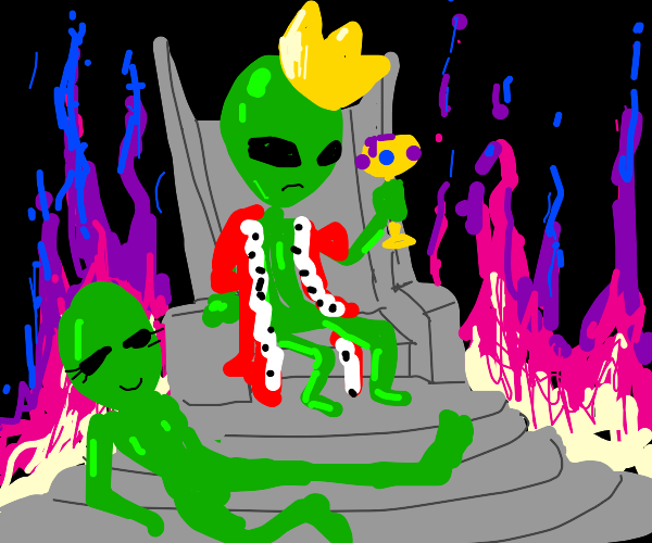 Alien king surrounded by fire