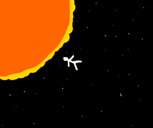 Person flying into the sun