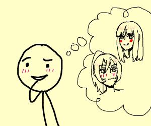 guy thinking of anime girls