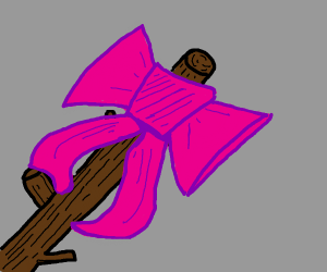 Pink ribbon on a stick